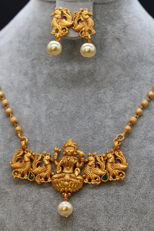 Laxmi and peacock necklace