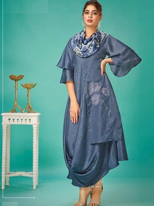 AirForce Blue fancy kurti with scarf (Size : 38)