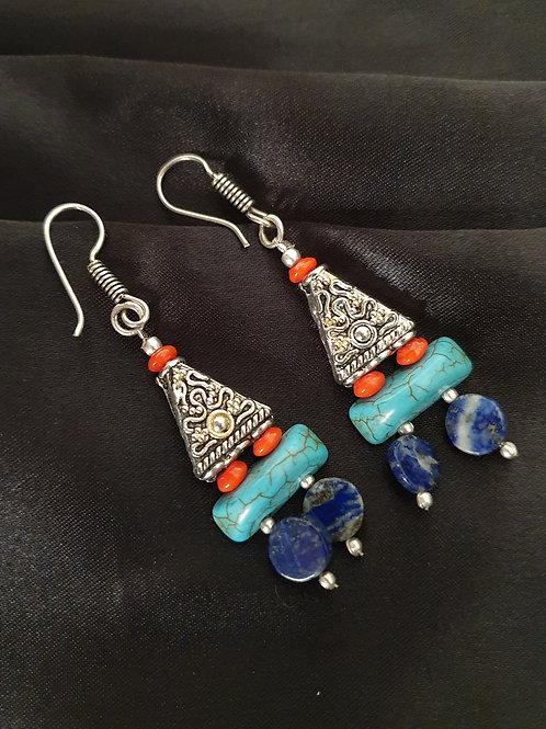 Tibetan earrings with semi-precious stones
