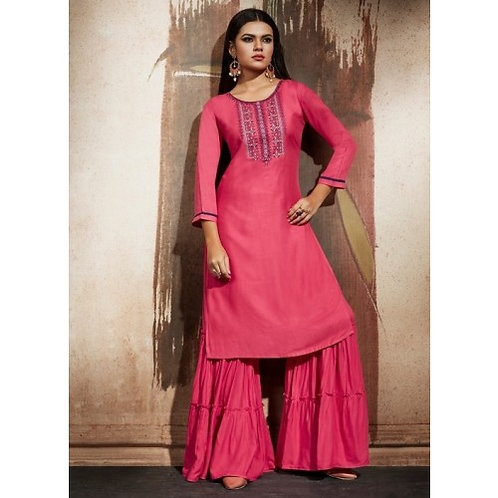 Pink Punch kurti with bottom (Size : 40)