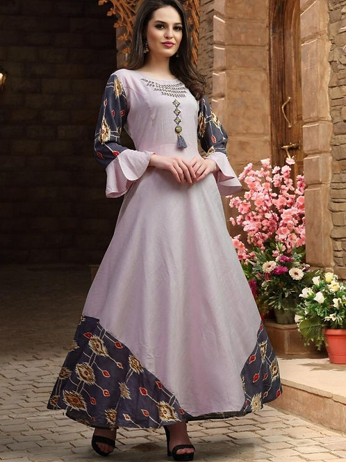 Lilac kurti with Steel Grey color border (Size : 41)