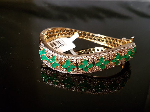 Green and white CZ diamond bracelet (Openable)