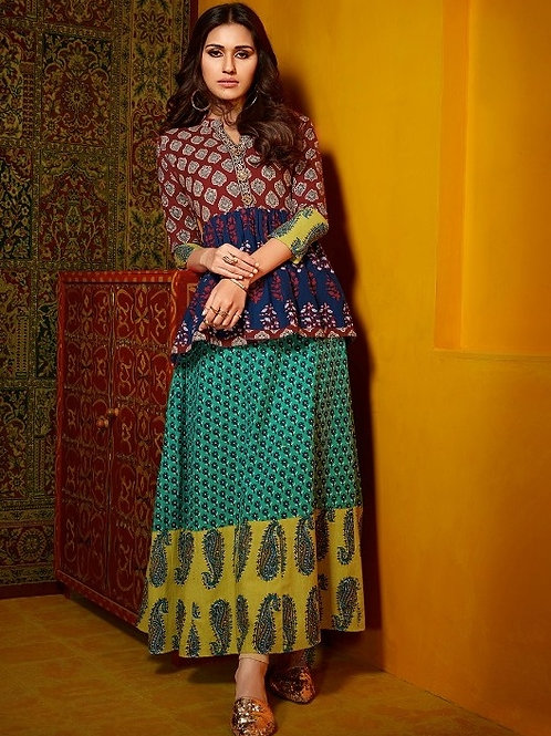 Brown & Navy Blue with Turquoise & Mustard kurti (Size : 40)
