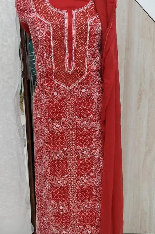 Lucknowi Karigari's - Chikankari with Mukaish Dress Material