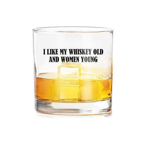 """I Like My Whiskey Old"" whiskey glasses (set of 2)"