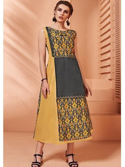 Mustard and Grey kurti (Size : 40)