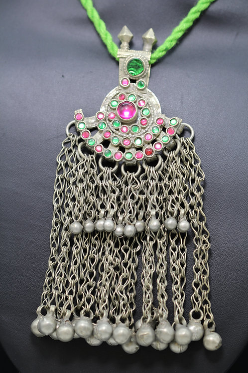 Afgani Pendant with green pink glass beads