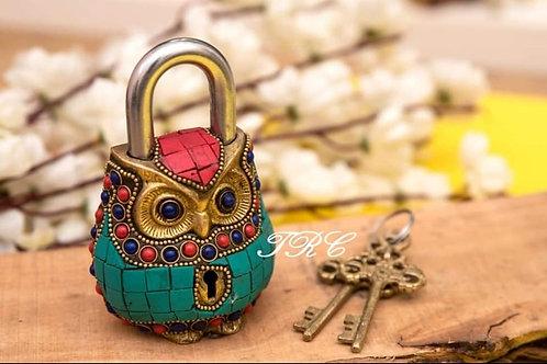 Owl Brass Lock with keys (Home Decor)