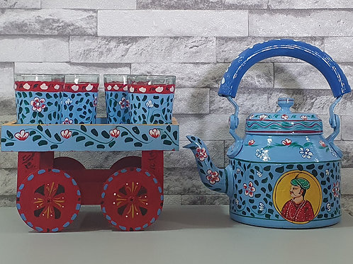 Traditional Hand Painted Kettle Set - Blue