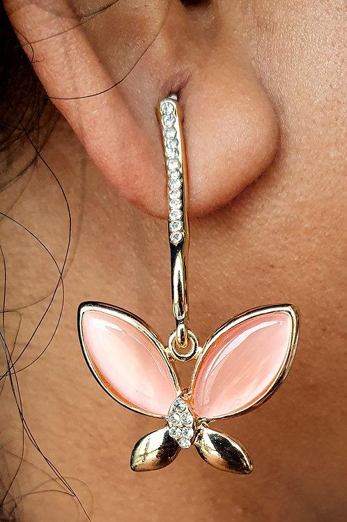 Pink Chalcedoney Stone and CZ diamond earrings