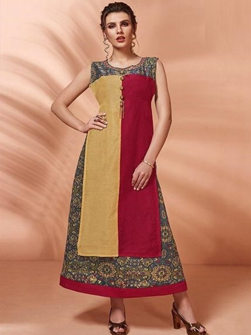 Mustard and Red kurti (Size : 38)