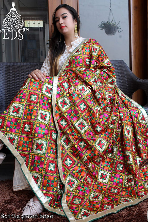 Phulkari dupatta (Bottle Green base)