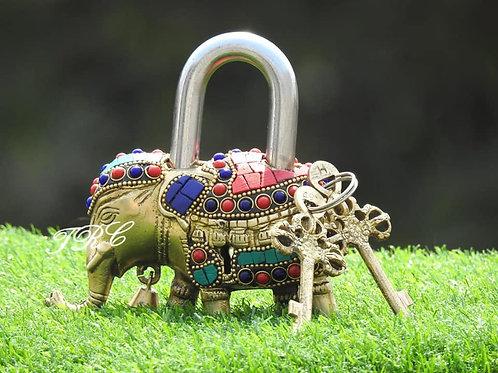 Elephant Brass Lock with keys (Home Decor)