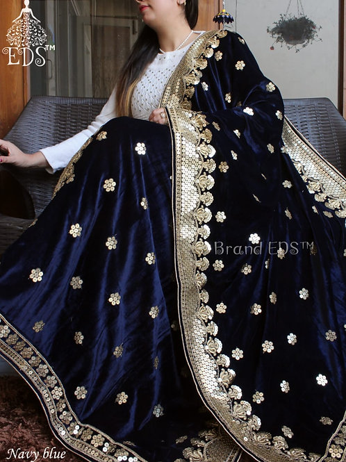 Velvet dupatta with sequence - Navy Blue