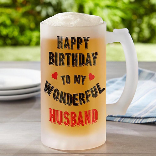 Happy birthday Husband Frosted Beer Glass