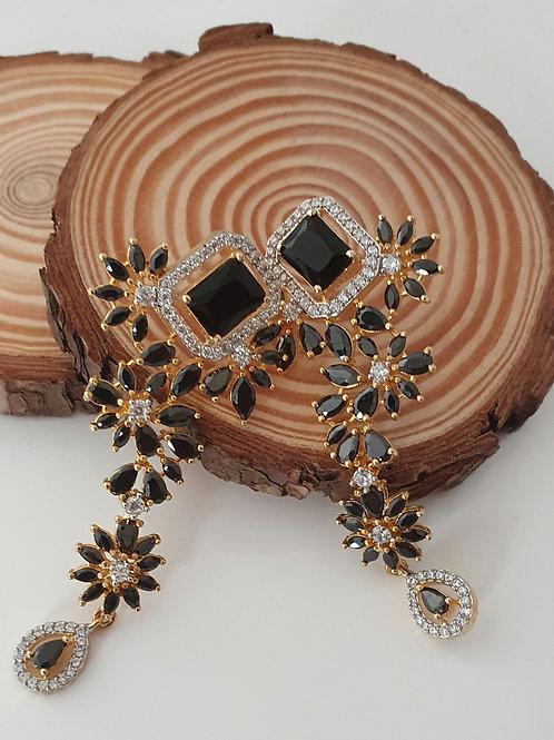 CZ/ american diamonds with black stones earrings