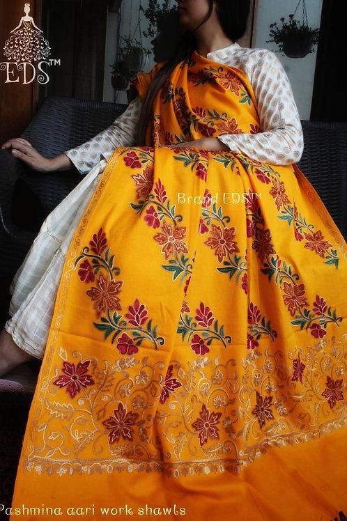 Kashmiri Shawl (Golden Yellow base)