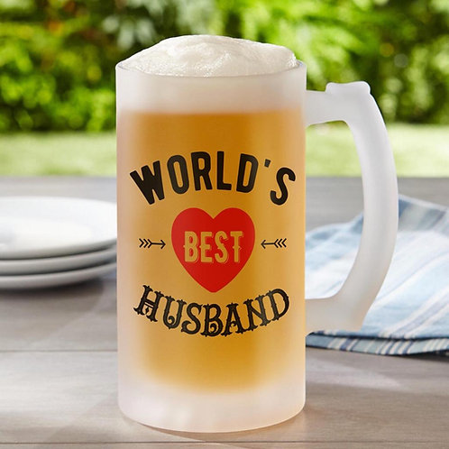 World's best Husband Frosted Beer Glass