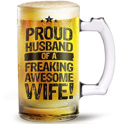 Proud Husband Awesome Wife beer mug