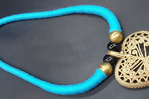 Dokhra necklace in blue thread