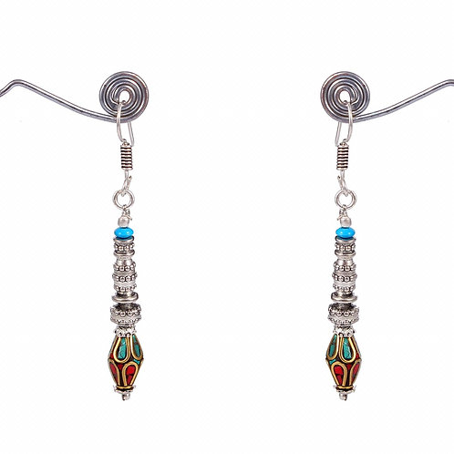 Tibetan earrings with semi-precious stone