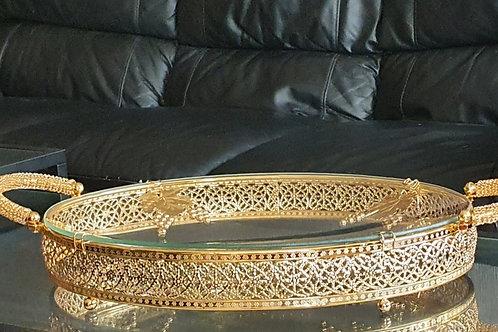 Designer Oval Tray with leaf design