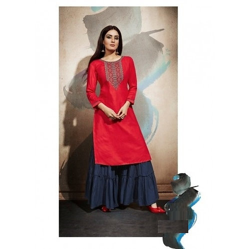 Red kurti with Blue bottom (Size 40)