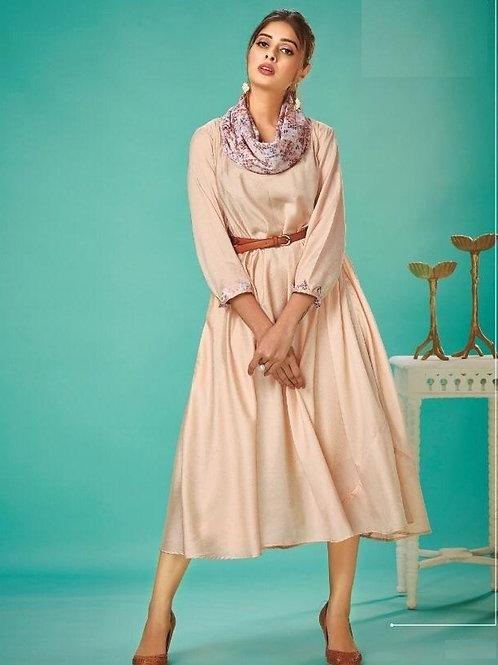 Navajo White fancy kurti with belt & scarf (Size : 38)
