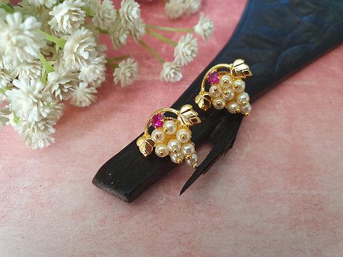 Traditional moti thushi grape tops earrings