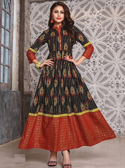 Black kurti with Golden & Brick Red design (Size : 40)