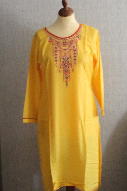 Golden Yellow kurti with bottom (Size 40)