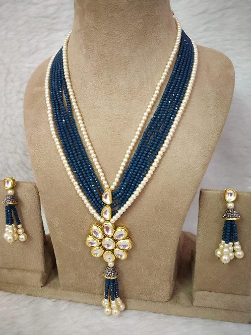 Kundan and pearl necklace (Dark Cyan blue color)