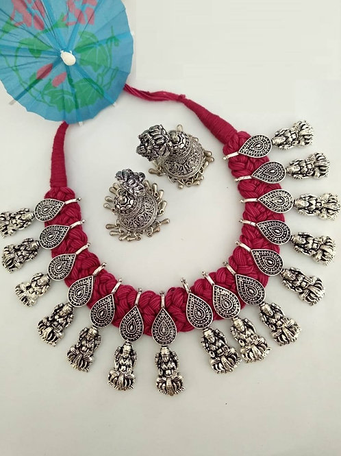 Goddess Laxmi motif thread necklace with jhumkas