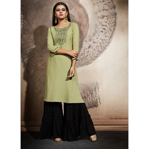 Olive Green kurti with Black bottom (Size 40)