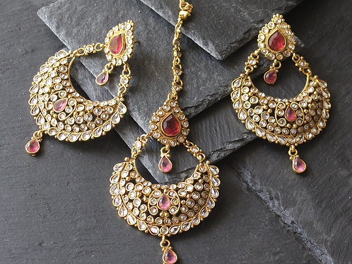 Maang tikka set in kundan