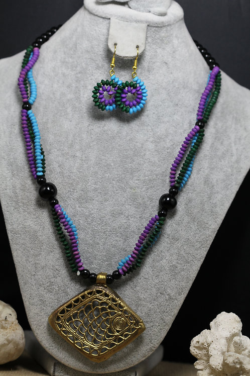Handmade dokhra pendant and bead necklace
