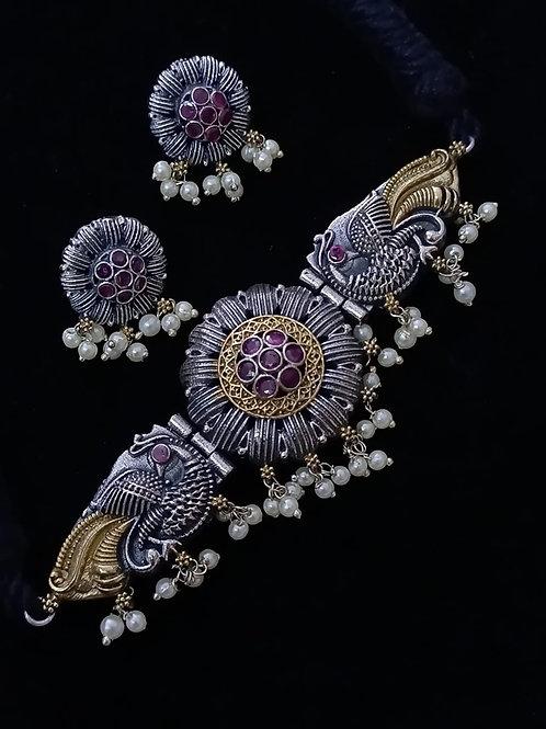 Dual tone silver lookalike choker necklace