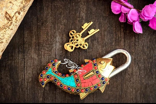 Fish Brass Lock with keys (Home Decor)