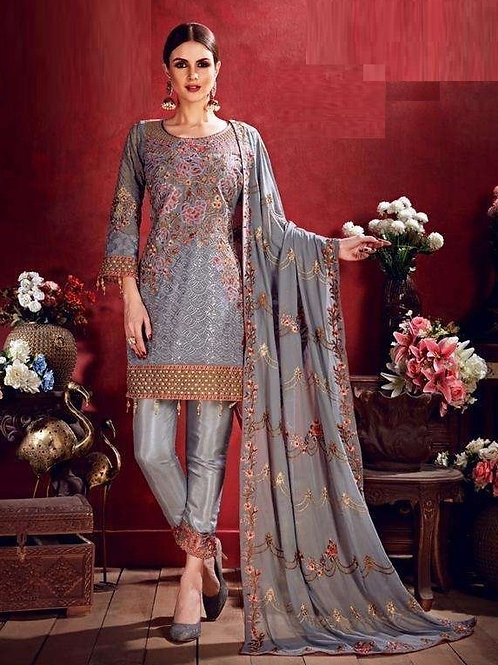 Steel Grey color Semi Stitched Suite with Pink & Golden designs