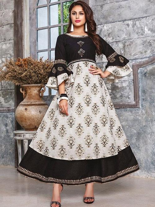 White and Black kurti (Size : 42)