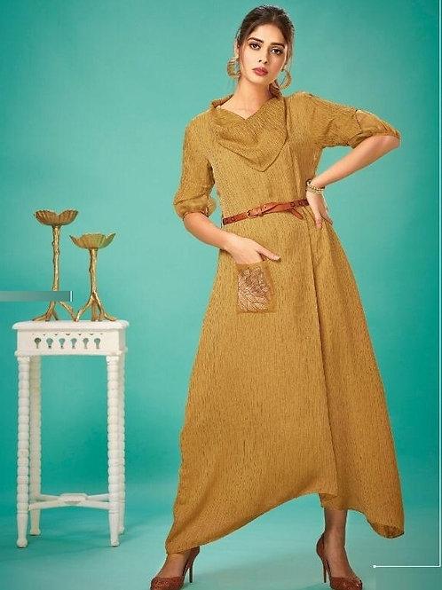 Goldenrod color fancy kurti with belt (Size : 38)