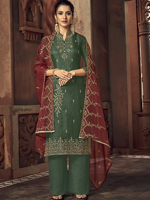 Dark Green color Semi Stitched Suite with Maroon dupatta