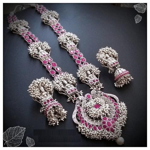 Goddess Laxmi long haram with pink ruby stones