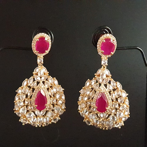 CZ/American diamond earrings with red stones