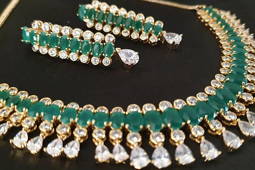 CZ necklace with Green stones.