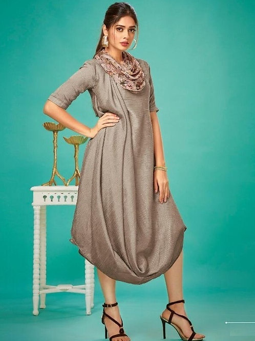 Beige Grey fancy kurti with scarf (Size : 36)