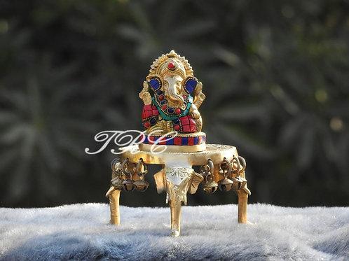 Lord Ganesha with  Brass Chowki