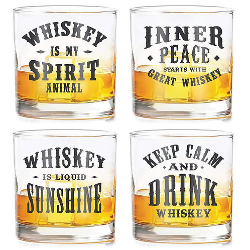 Whiskey glasses with Quotes (set of 4)