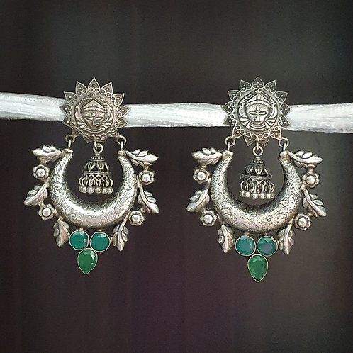 Silver lookalike earrings with semi precious stones