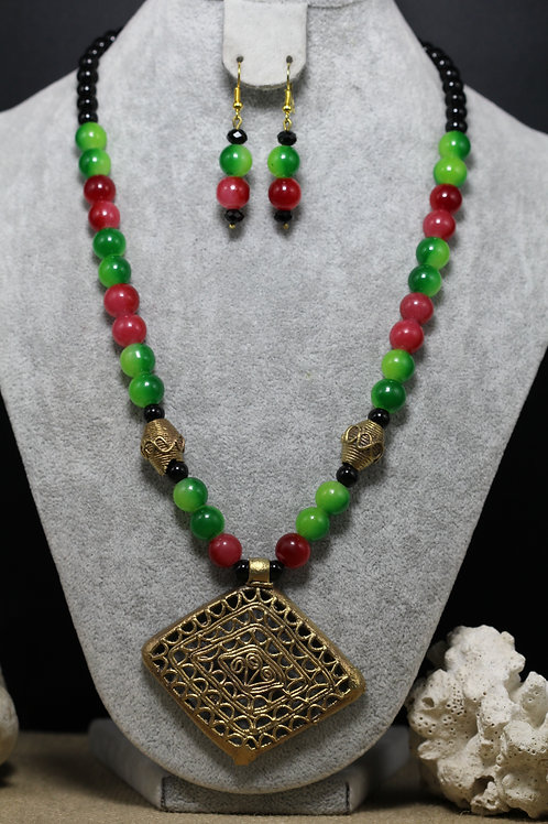 Handmade dokhra and glass bead necklace
